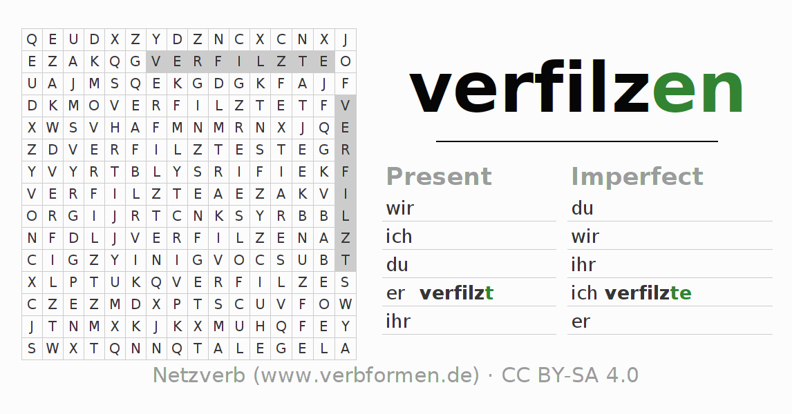 Word search puzzle for the conjugation of the verb verfilzen (ist)