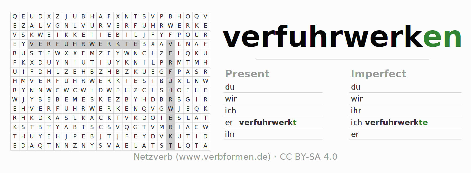 Word search puzzle for the conjugation of the verb verfuhrwerken