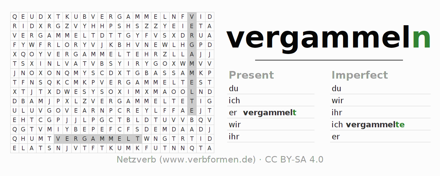 Word search puzzle for the conjugation of the verb vergammeln (hat)