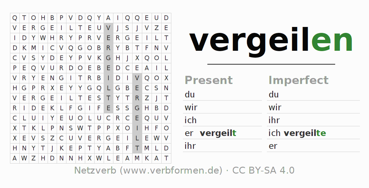Word search puzzle for the conjugation of the verb vergeilen