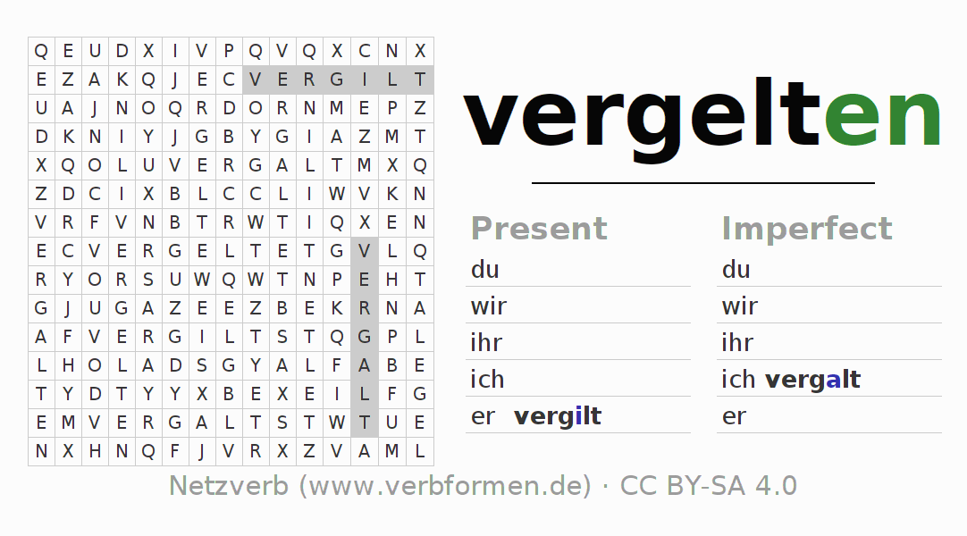 Word search puzzle for the conjugation of the verb vergelten