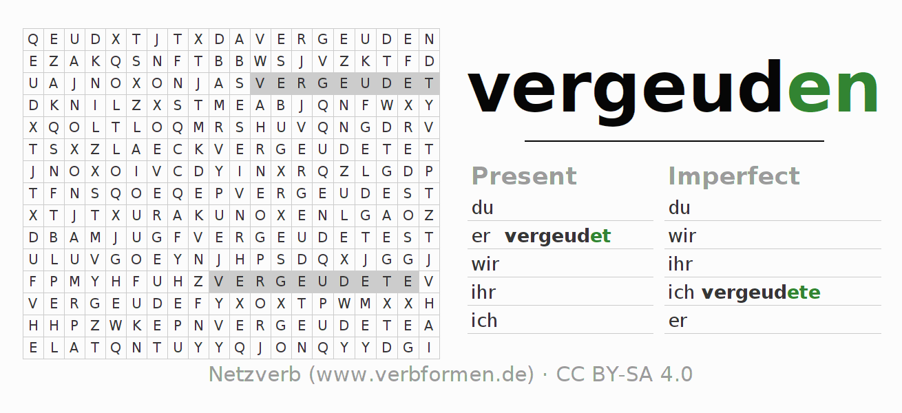 Word search puzzle for the conjugation of the verb vergeuden