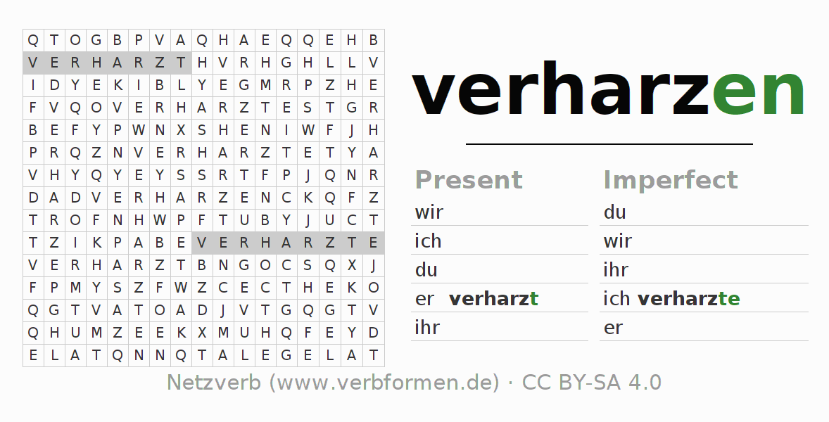 Word search puzzle for the conjugation of the verb verharzen
