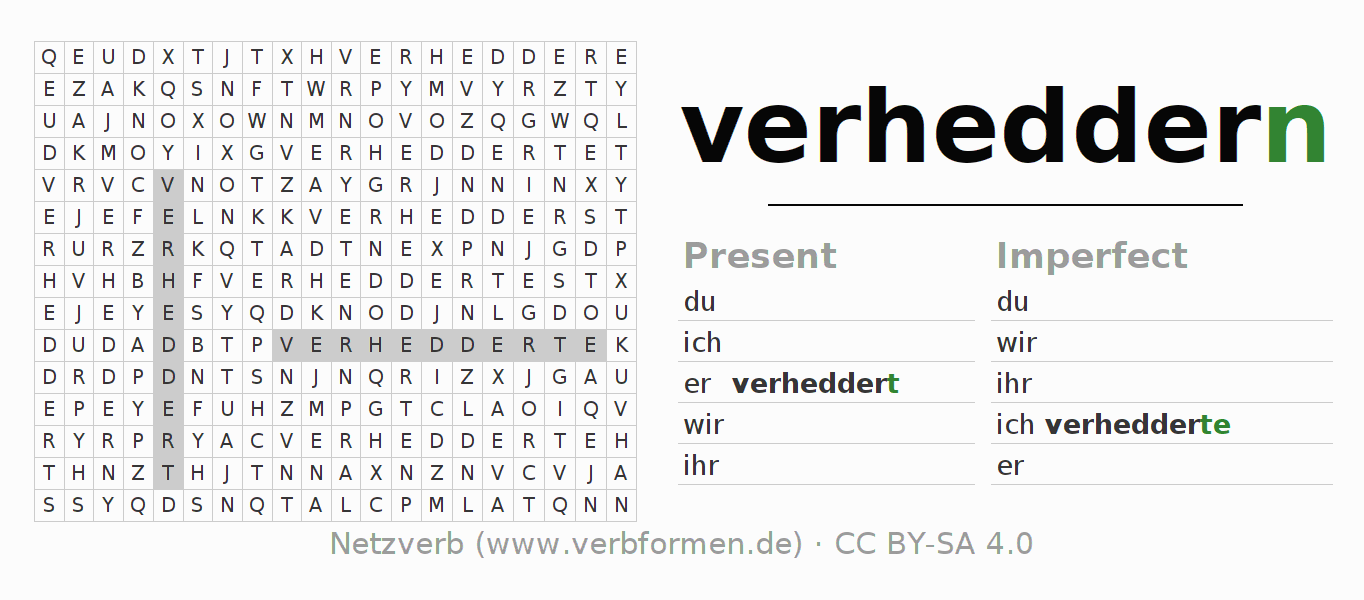 Word search puzzle for the conjugation of the verb verheddern
