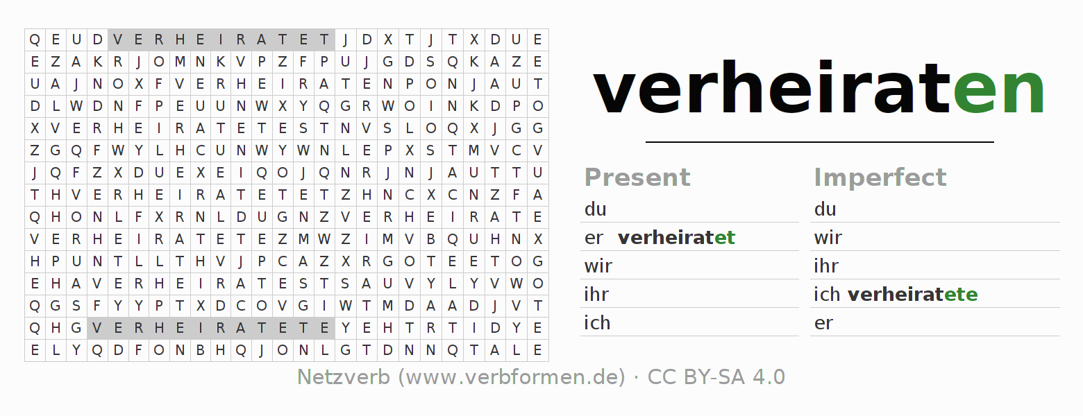 Word search puzzle for the conjugation of the verb verheiraten