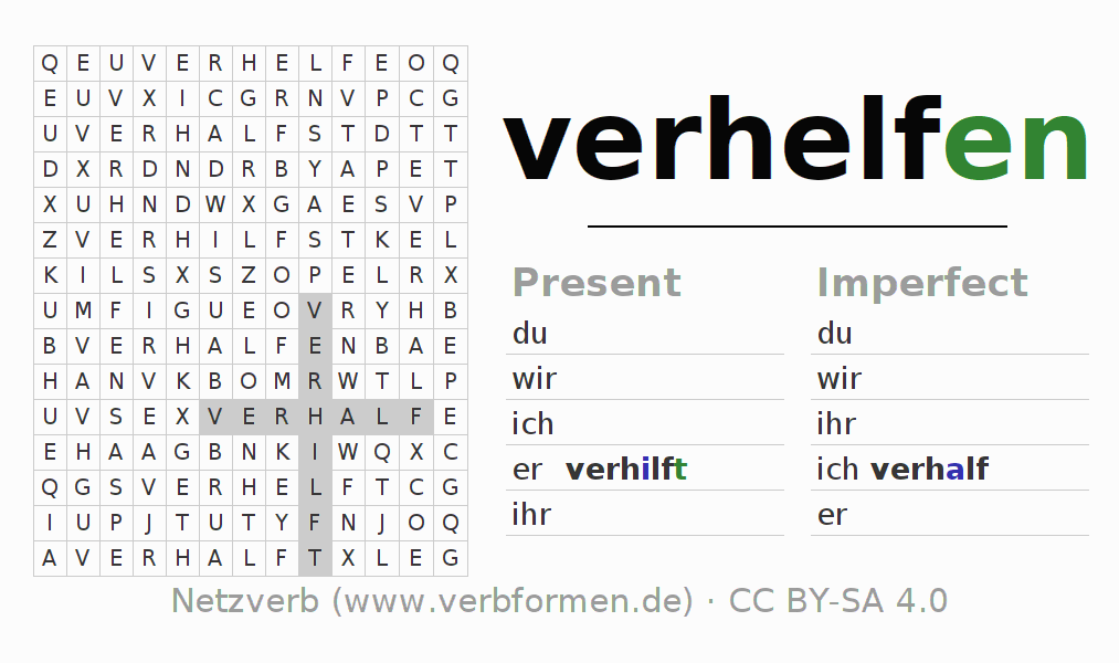 Word search puzzle for the conjugation of the verb verhelfen