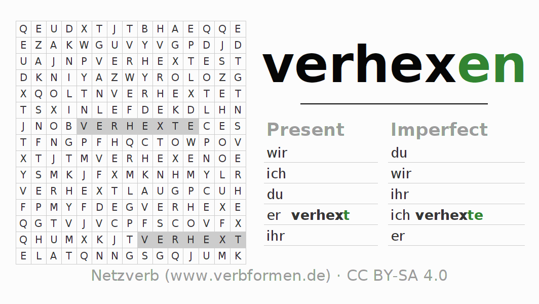 Word search puzzle for the conjugation of the verb verhexen