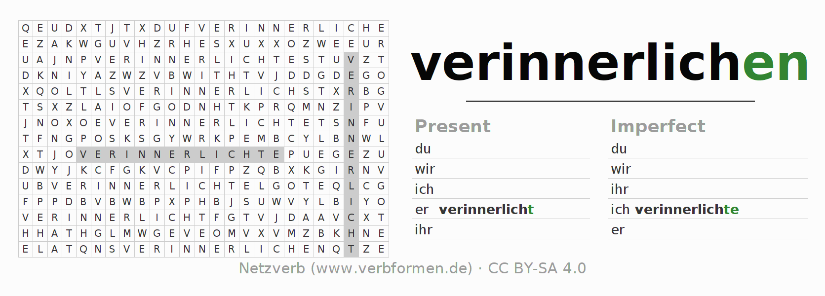 Word search puzzle for the conjugation of the verb verinnerlichen