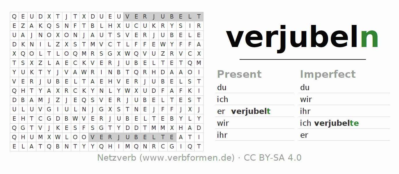 Word search puzzle for the conjugation of the verb verjubeln