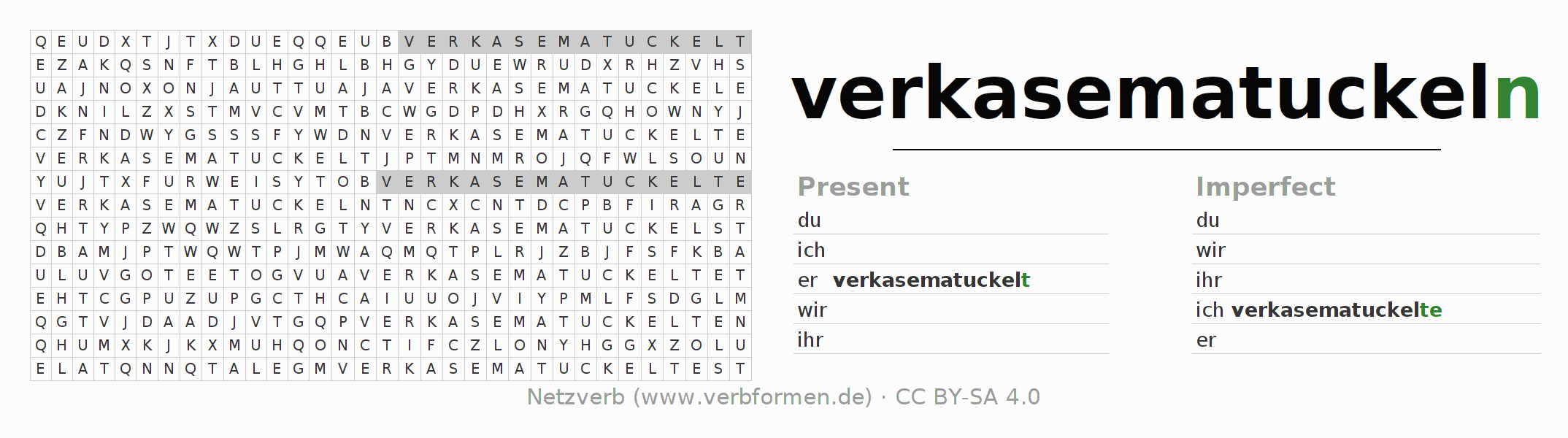 Word search puzzle for the conjugation of the verb verkasematuckeln
