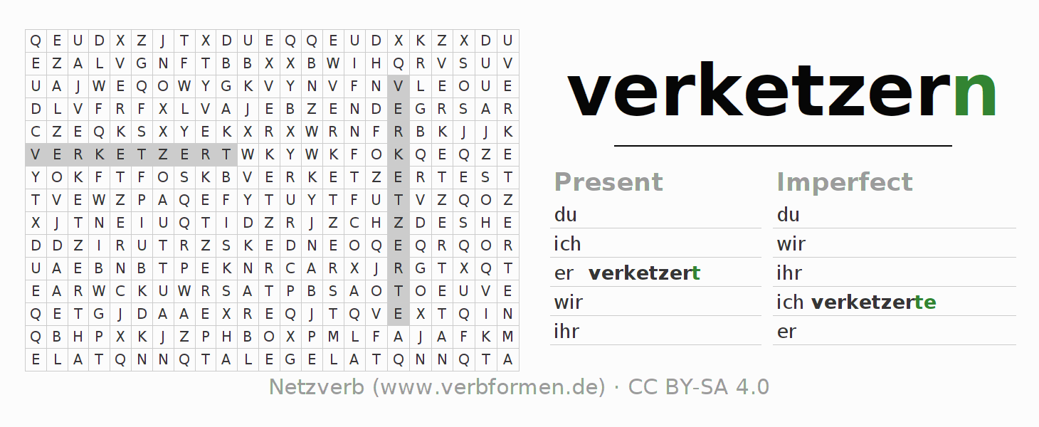 Word search puzzle for the conjugation of the verb verketzern
