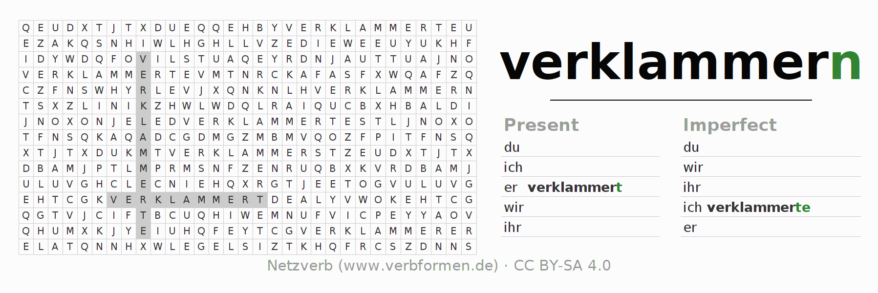Word search puzzle for the conjugation of the verb verklammern