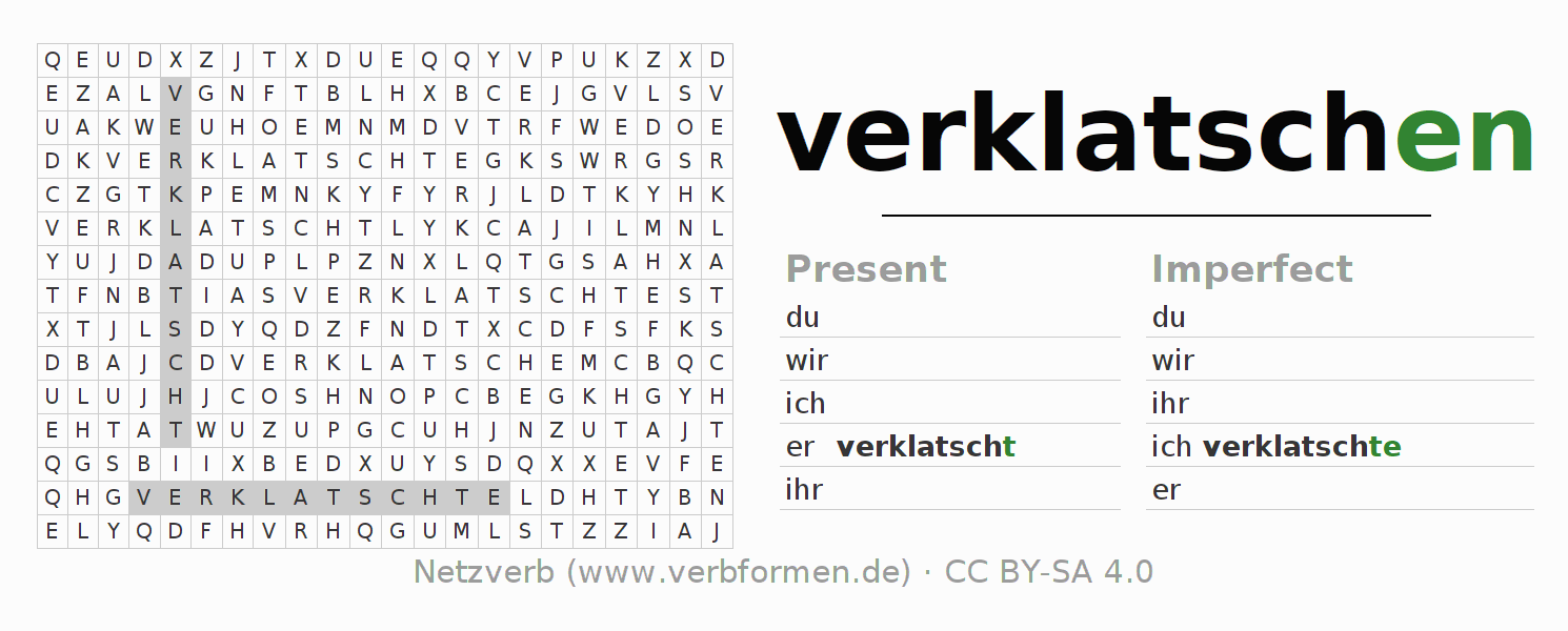Word search puzzle for the conjugation of the verb verklatschen