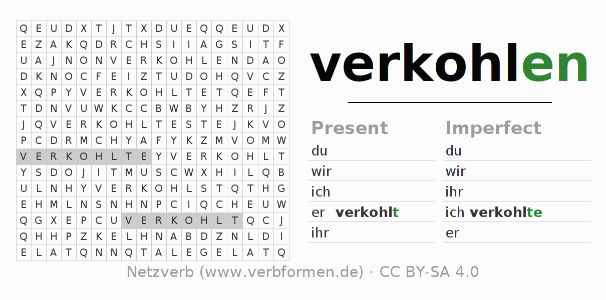Word search puzzle for the conjugation of the verb verkohlen (ist)