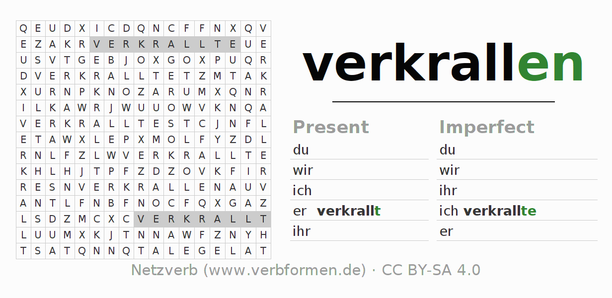 Word search puzzle for the conjugation of the verb verkrallen
