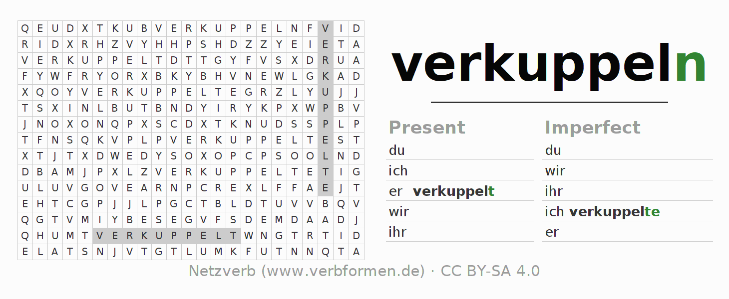 Word search puzzle for the conjugation of the verb verkuppeln