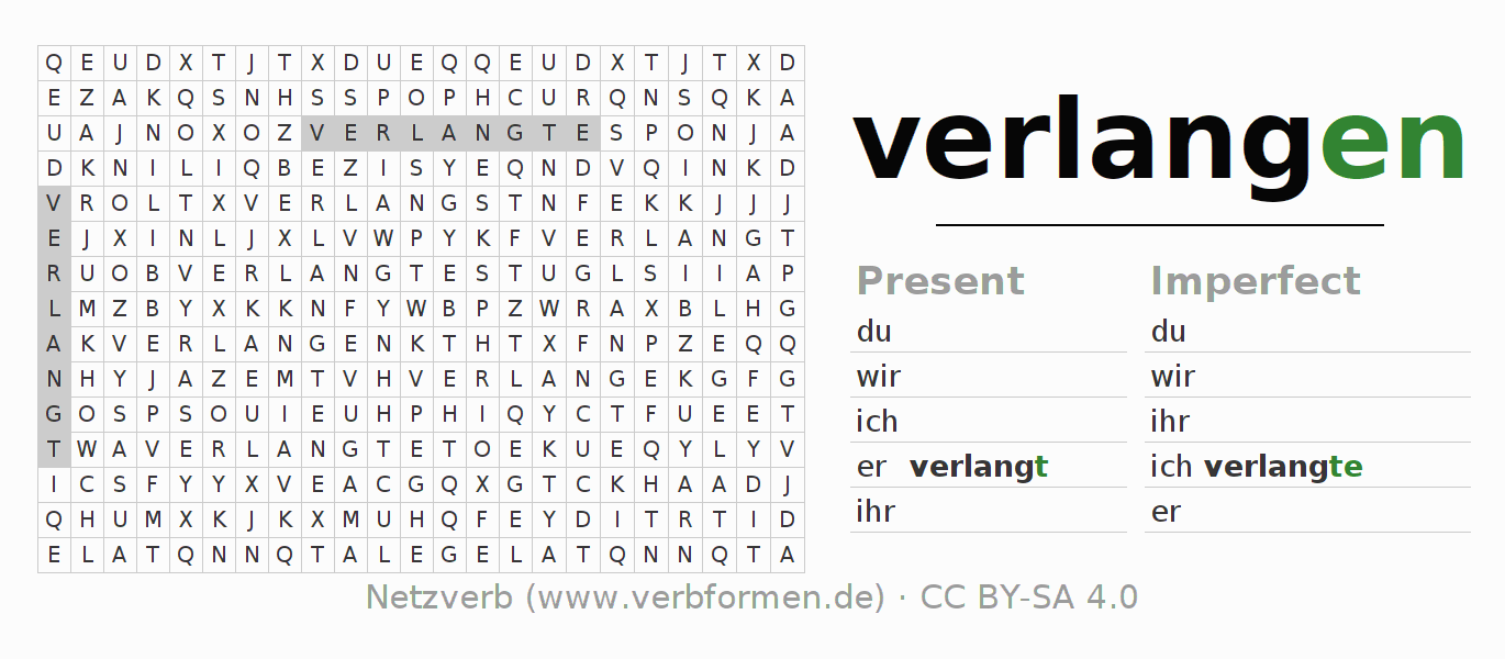 Word search puzzle for the conjugation of the verb verlangen