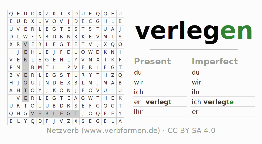 Word search puzzle for the conjugation of the verb verlegen