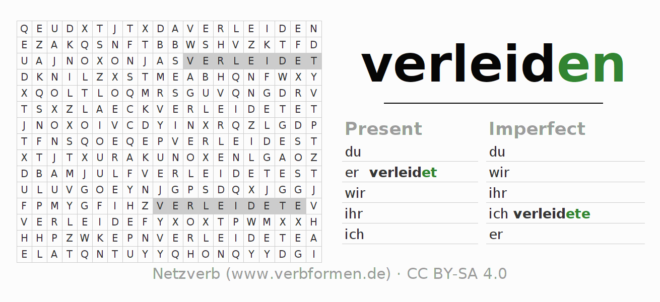 Word search puzzle for the conjugation of the verb verleiden