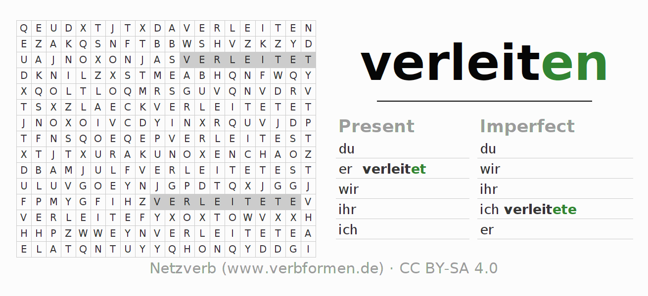 Word search puzzle for the conjugation of the verb verleiten