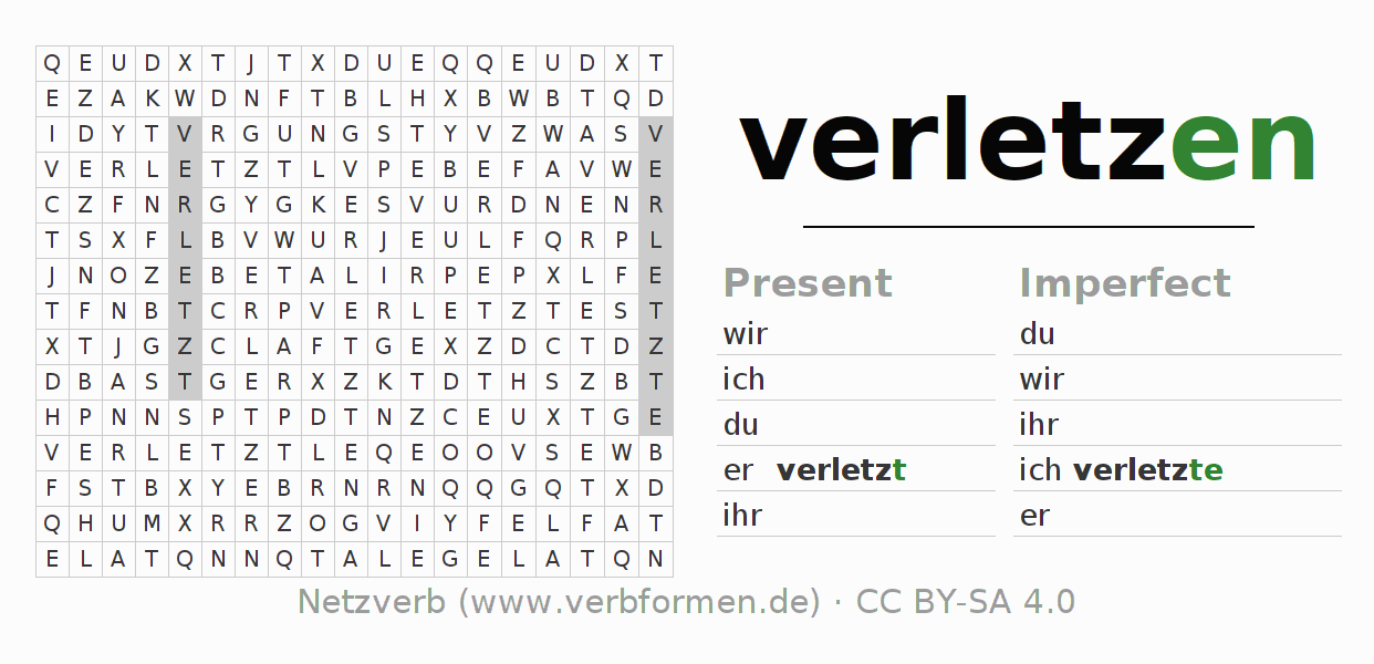 Word search puzzle for the conjugation of the verb verletzen