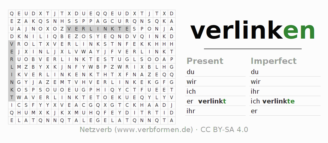 Word search puzzle for the conjugation of the verb verlinken