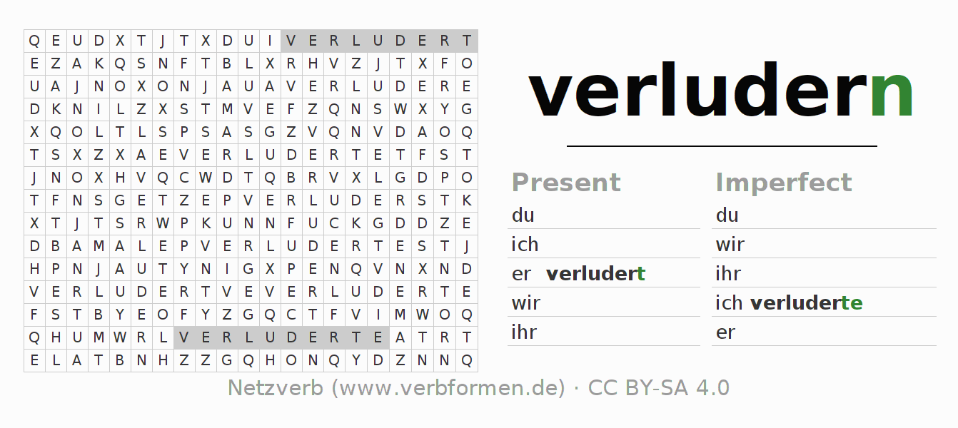 Word search puzzle for the conjugation of the verb verludern (ist)