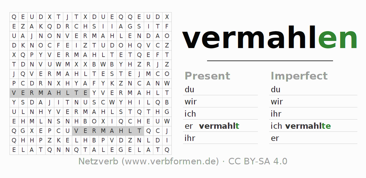 Word search puzzle for the conjugation of the verb vermahlen