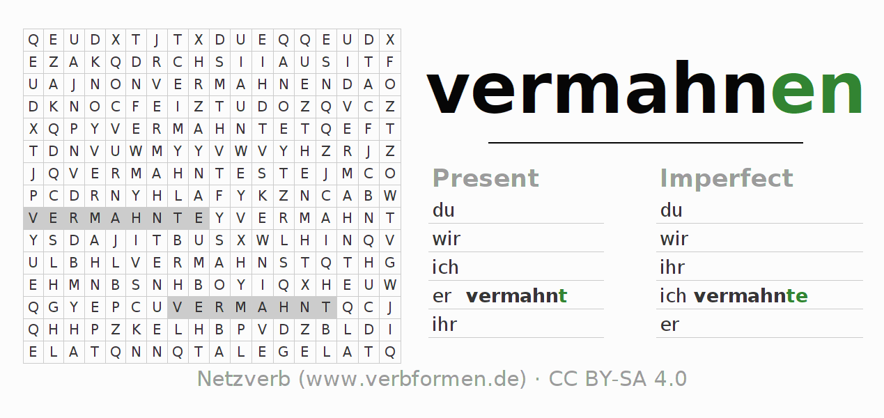 Word search puzzle for the conjugation of the verb vermahnen