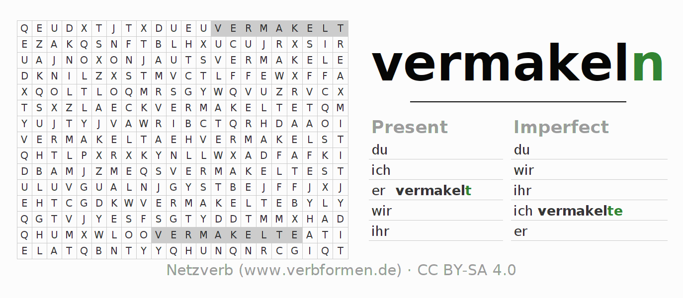 Word search puzzle for the conjugation of the verb vermakeln