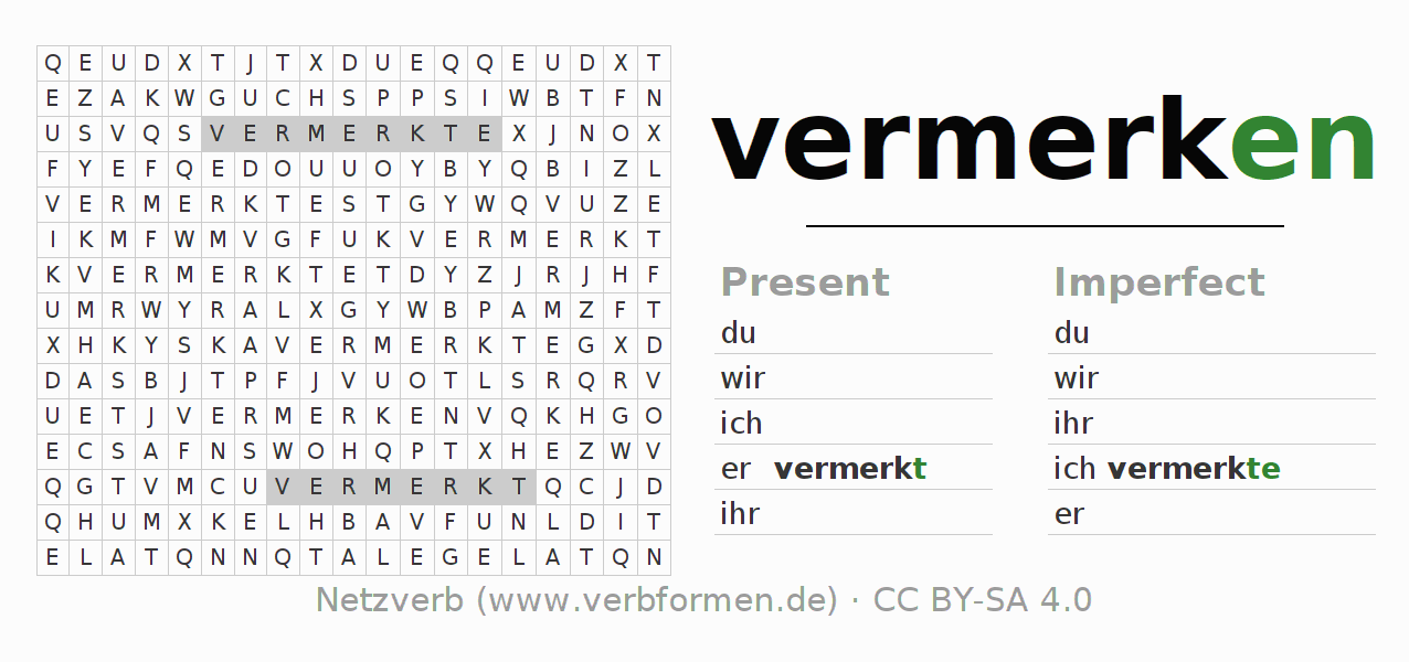 Word search puzzle for the conjugation of the verb vermerken