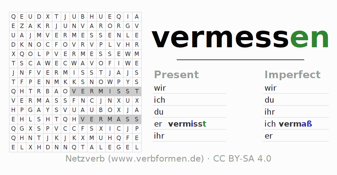 Word search puzzle for the conjugation of the verb vermessen