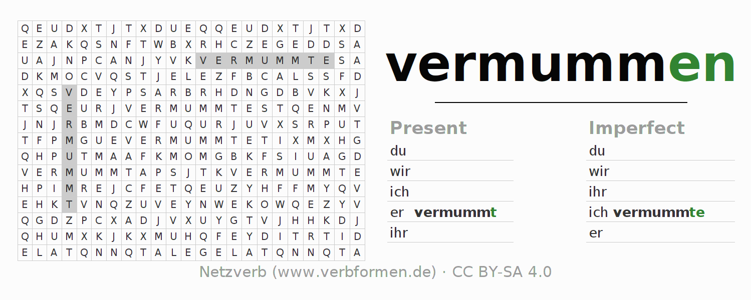 Word search puzzle for the conjugation of the verb vermummen
