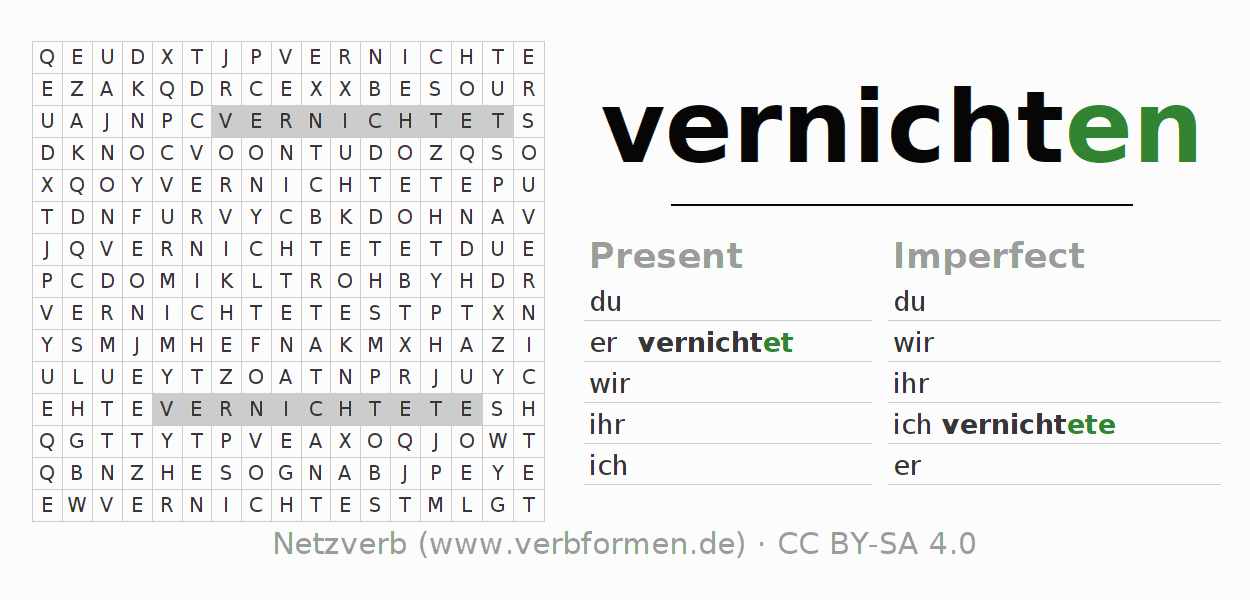 Word search puzzle for the conjugation of the verb vernichten