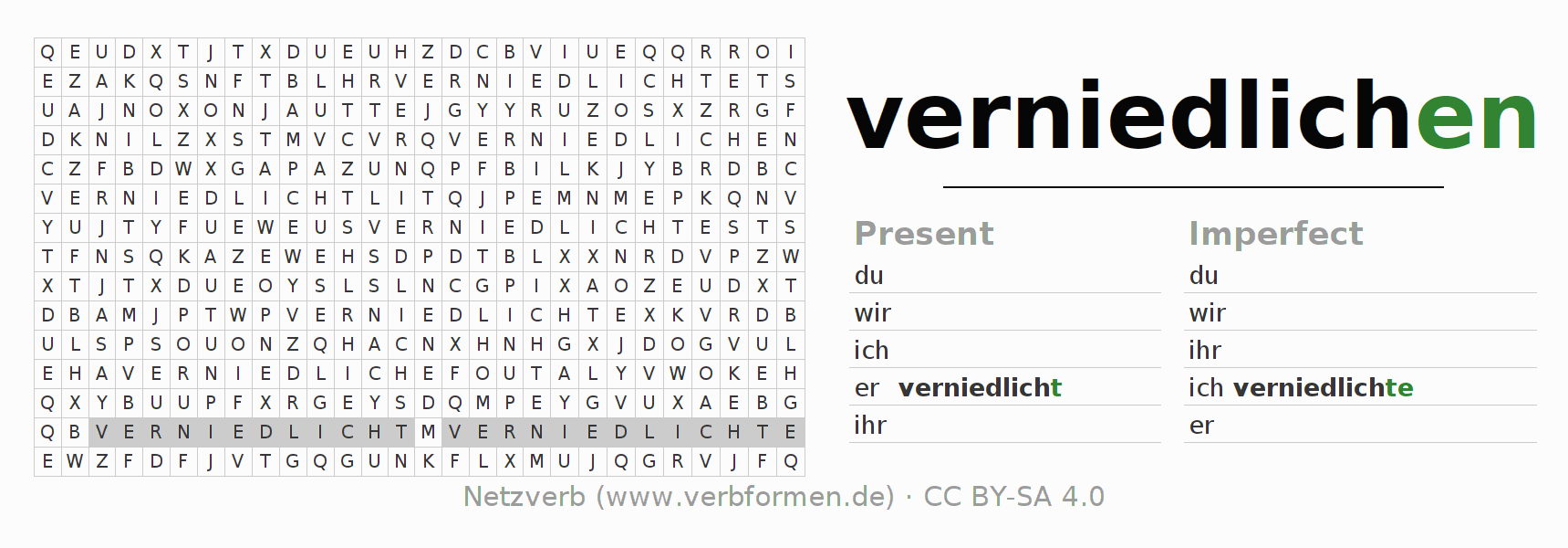 Word search puzzle for the conjugation of the verb verniedlichen