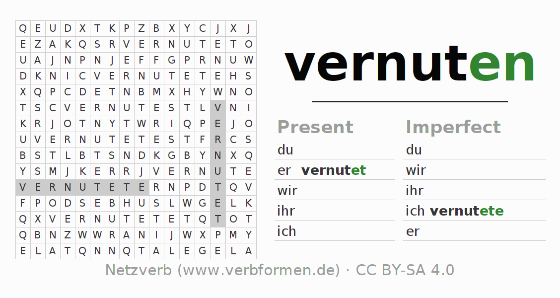 Word search puzzle for the conjugation of the verb vernuten