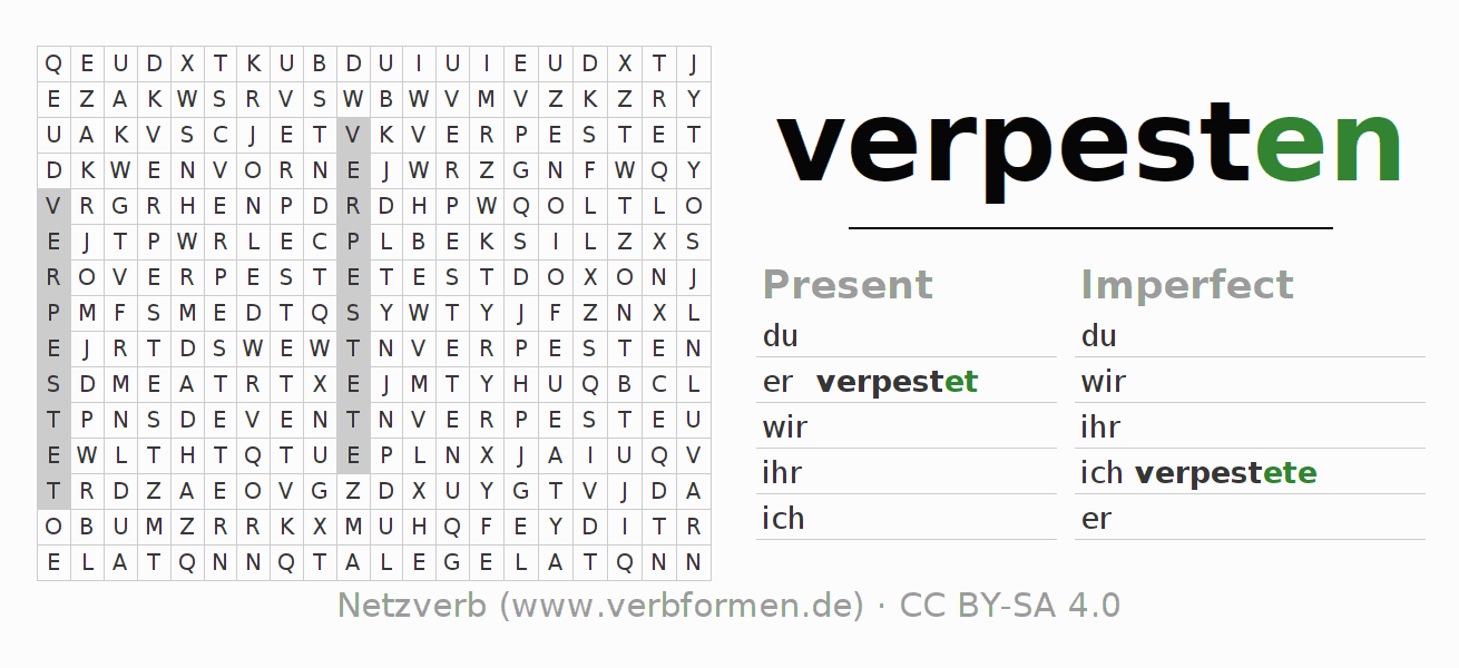 Word search puzzle for the conjugation of the verb verpesten