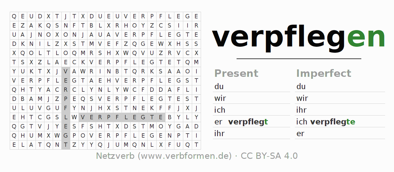 Word search puzzle for the conjugation of the verb verpflegen