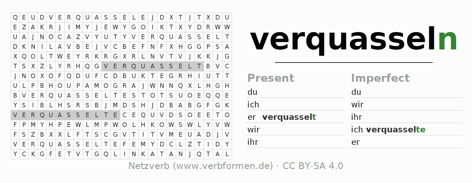 Word search puzzle for the conjugation of the verb verquasseln