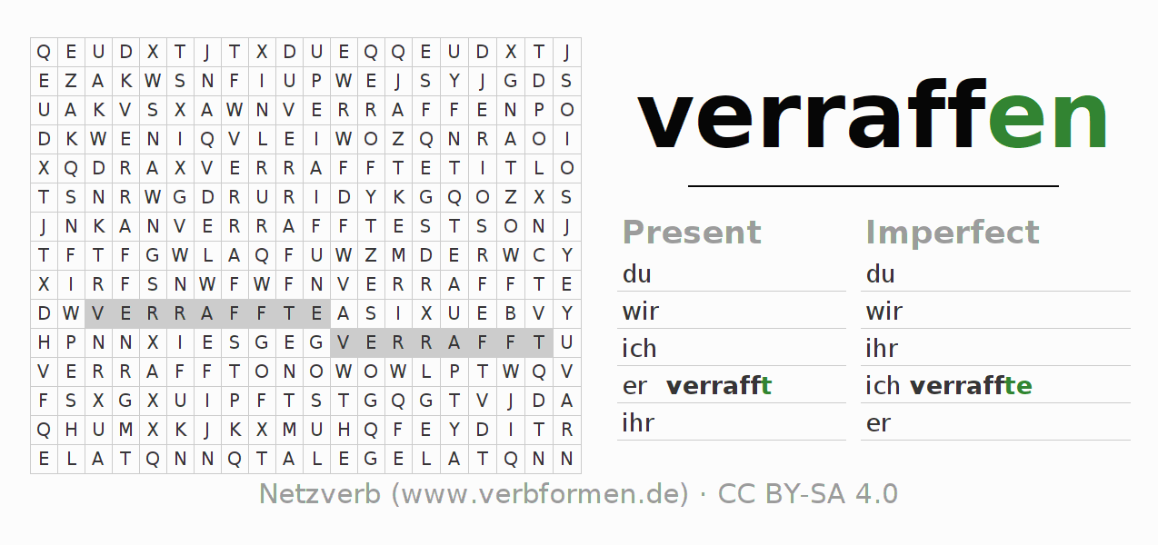 Word search puzzle for the conjugation of the verb verraffen