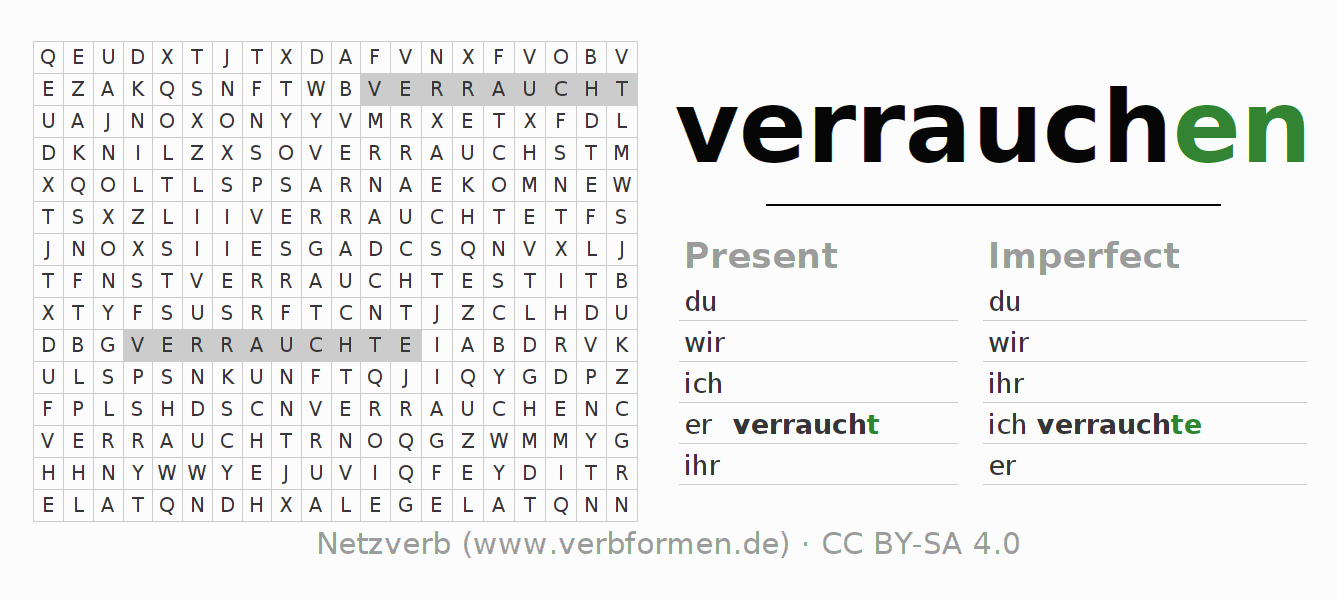 Word search puzzle for the conjugation of the verb verrauchen (ist)