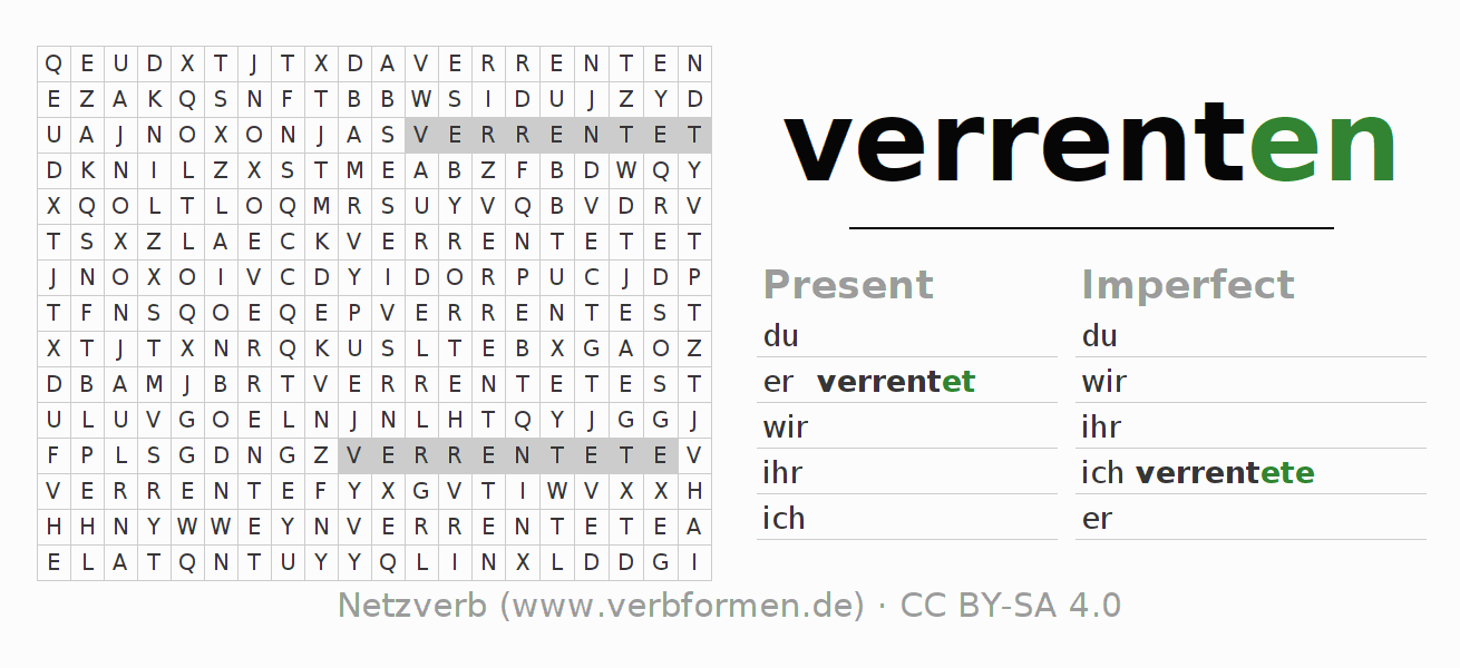 Word search puzzle for the conjugation of the verb verrenten
