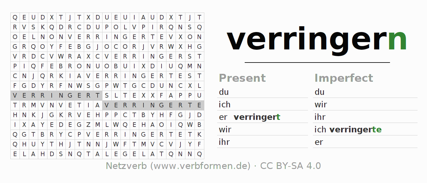 Word search puzzle for the conjugation of the verb verringern