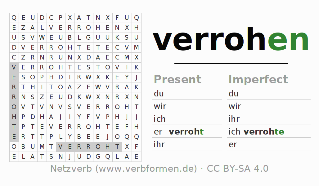 Word search puzzle for the conjugation of the verb verrohen (hat)