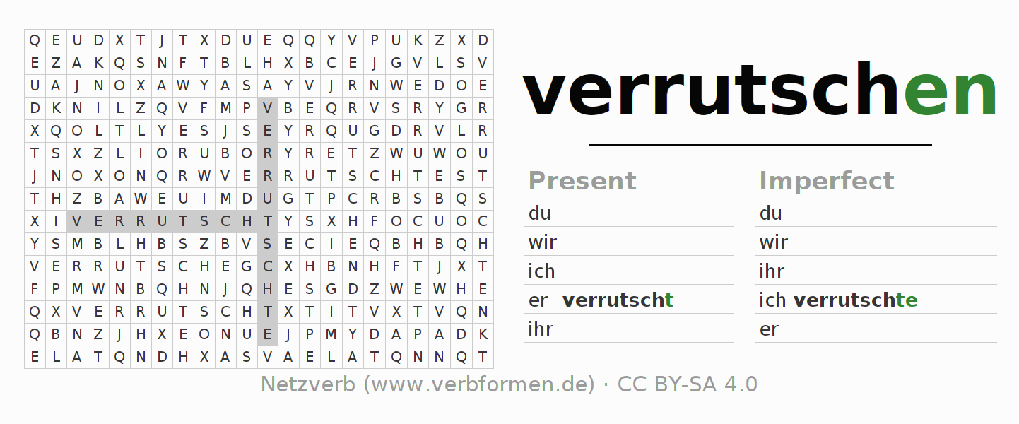 Word search puzzle for the conjugation of the verb verrutschen