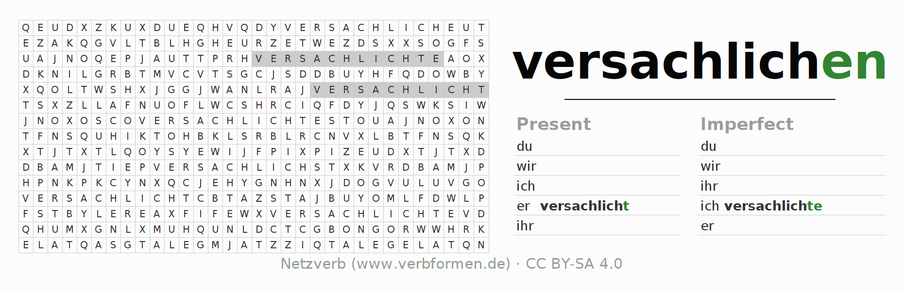 Word search puzzle for the conjugation of the verb versachlichen