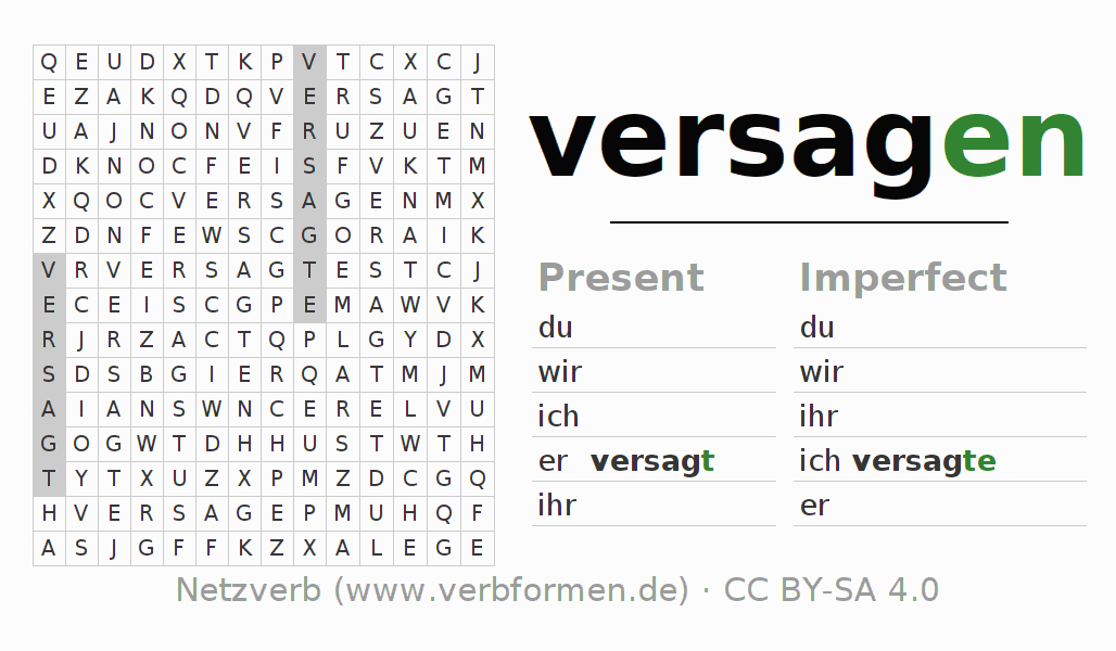 Word search puzzle for the conjugation of the verb versagen