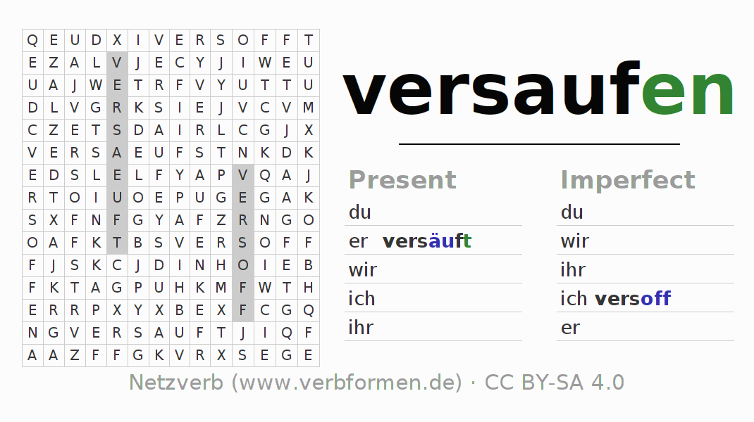 Word search puzzle for the conjugation of the verb versaufen (hat)