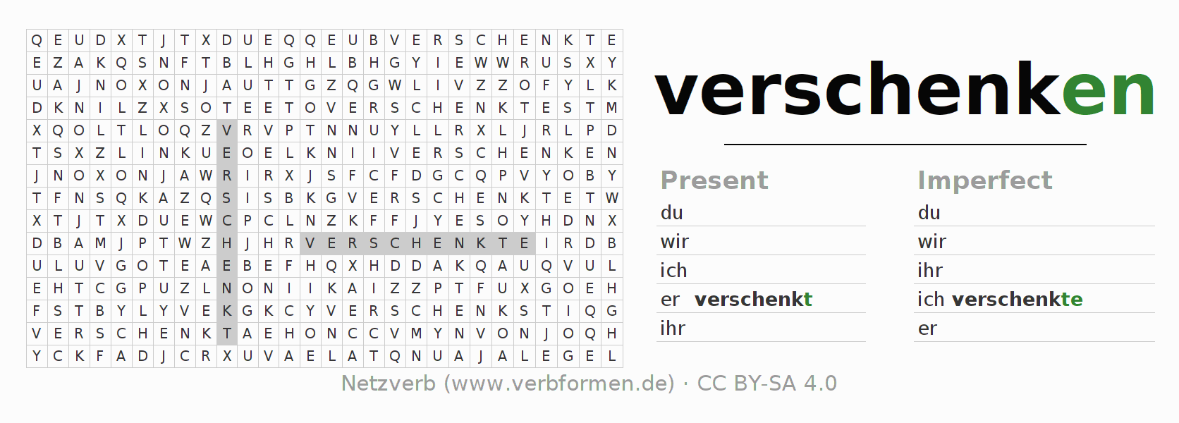 Word search puzzle for the conjugation of the verb verschenken