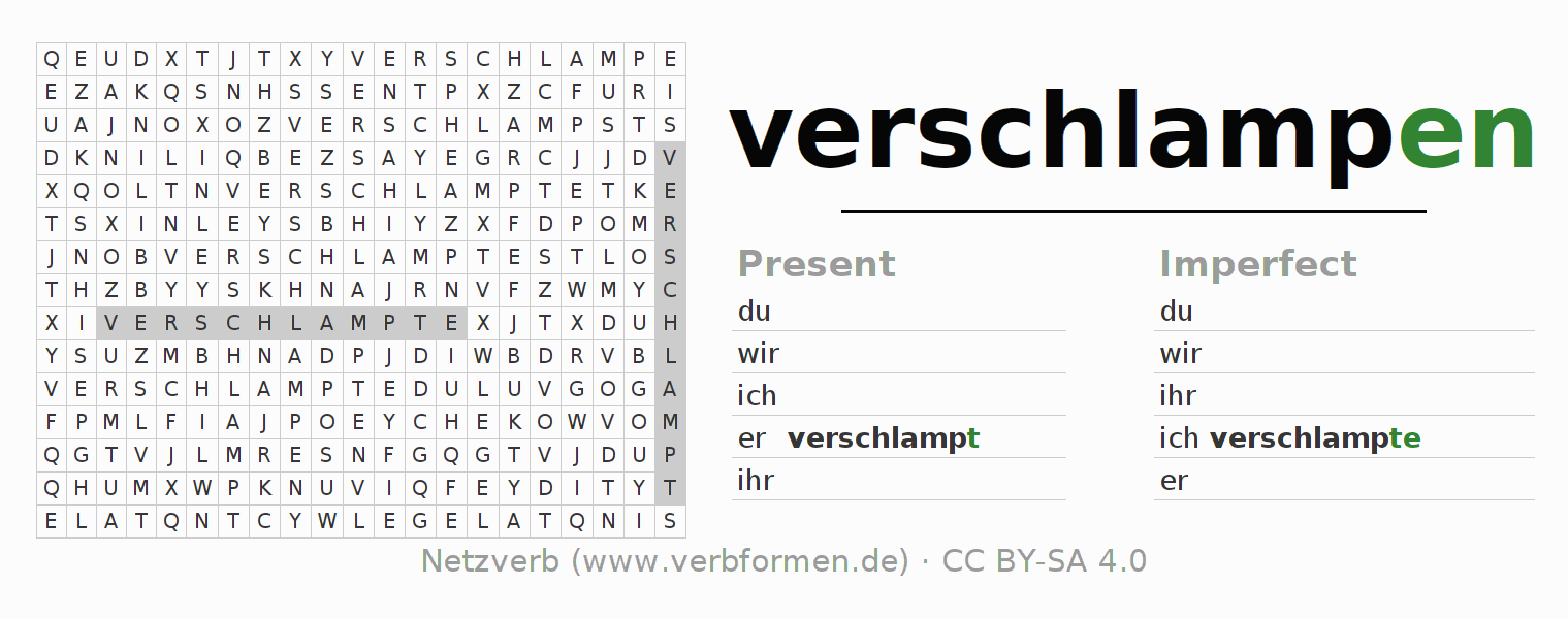 Word search puzzle for the conjugation of the verb verschlampen (hat)